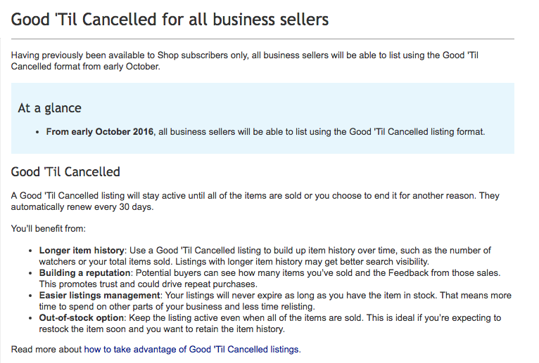 Good 'til Cancelled explained: What you need to know about the eBay selling strategy